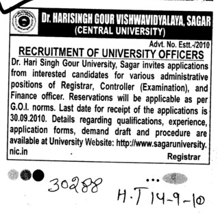 Recruitment of University Officers (Dr Harisingh Gour University)
