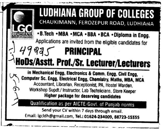 Principal HOD and Assistant Professors (Ludhiana Group of Colleges (LGC) Chowkimann)