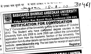 Notice for Annual Convocation (Babasaheb Bhimrao Ambedkar University)