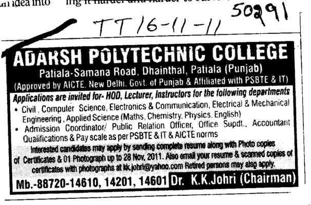 HOD Lecturer and Instructor (Adarsh Polytechnic College)