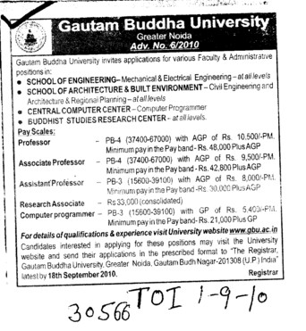 Proffesor Assistant Proffesor and Associate Proffesor (Gautam Buddha University (GBU))