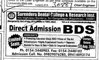 Direct Admission in BDS Courses (Surendera Dental College & Research Institute)
