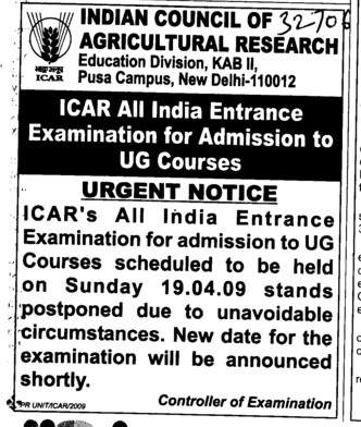 Urgent Notice (Indian Council of Agricultural Research (ICAR))
