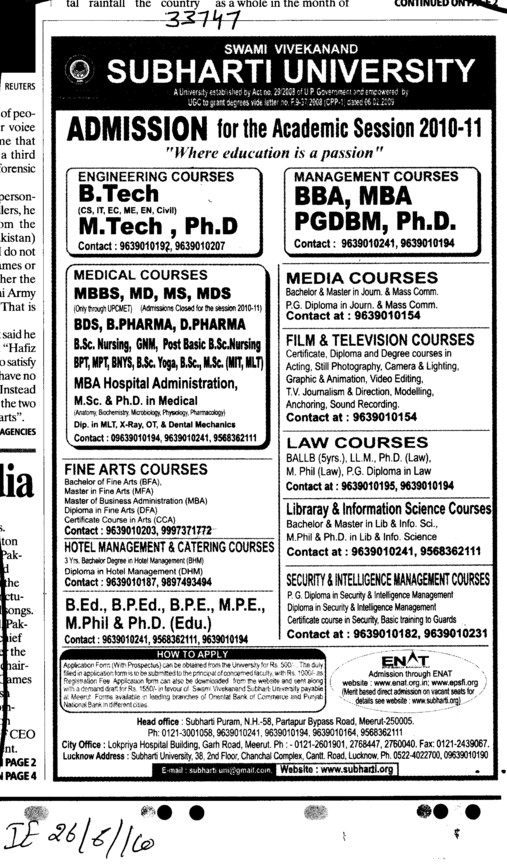 BTech MTech BBA MBA and MCA etc (Swami Vivekanand Subharti University)