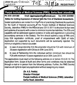 Notice for inviting from the firms of practicing Chartered Accountants (Punjab Institute of Medical Sciences (PIMS))