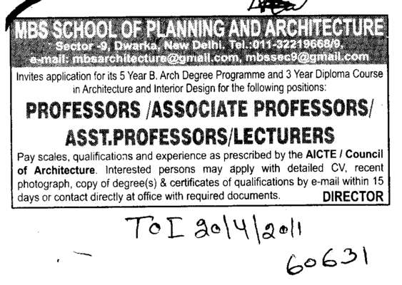 Professors Assistant Professors and Associate Professors (MBS School of Planning and Architecture)