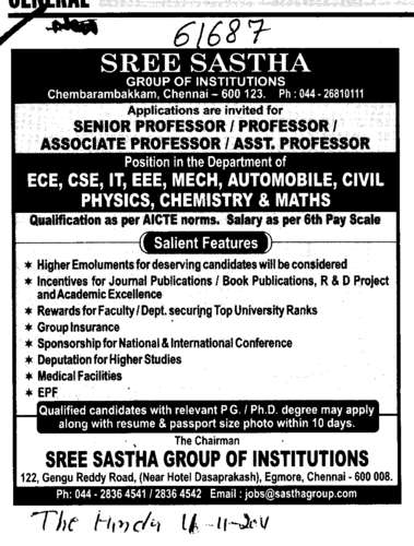 Professors Assistant Professors and Associate Professors in Math and English (Sree Sastha Group of Institutions)