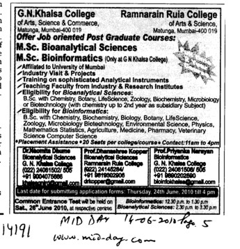 MSc in Bioanalytic Sciences and MSc Bioinformatics (Guru Nanak Khalsa College Matunga)