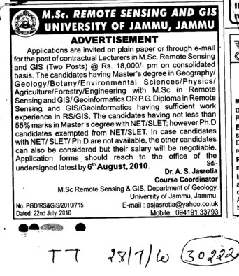 Lecturer in MSc Remote Sensing and GIS (Jammu University)