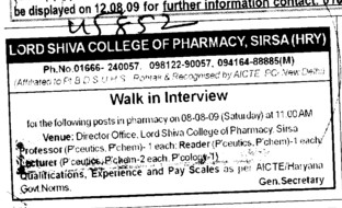Pharmacy (Lord Shiva College of Pharmacy)