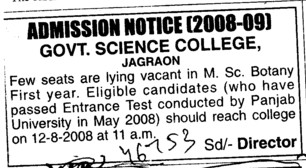 Seats vacant in MSc Botany (Sanmati Government College of Science Education and Research)