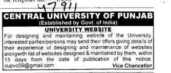 University Website (Central University of Punjab)