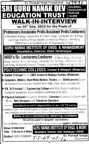 Proffesor Assistant Proffesor and Associate Proffesor (Guru Nanak Institute of Engineering and Management Dalewal)