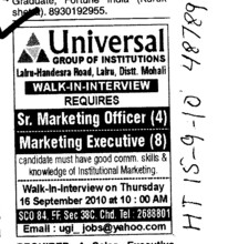 Marketing Officer and Executive (Universal Group of Institutions)