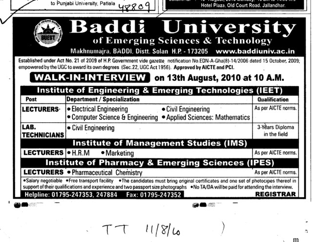 Lecturers and Lab Technicians (Baddi University of Emerging Sciences and Technologies)