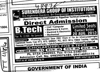 Direct Admission in BTeach (Surendera Group of Institutions)