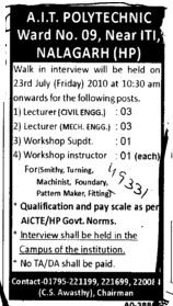Lecturer in civil and Mechanical etc (AIT Polytechnic)