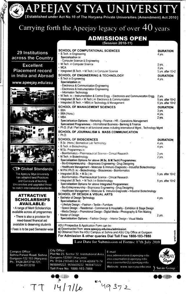 MCA BCA BBA and BSc etc (Apeejay Stya University)