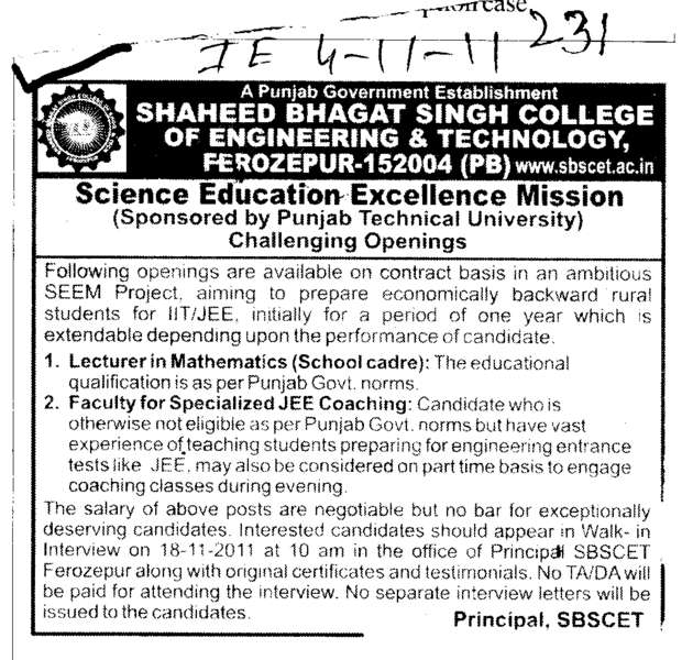 Lecturer in Mathmatics (Shaheed Bhagat Singh State (SBBS) Technical Campus)