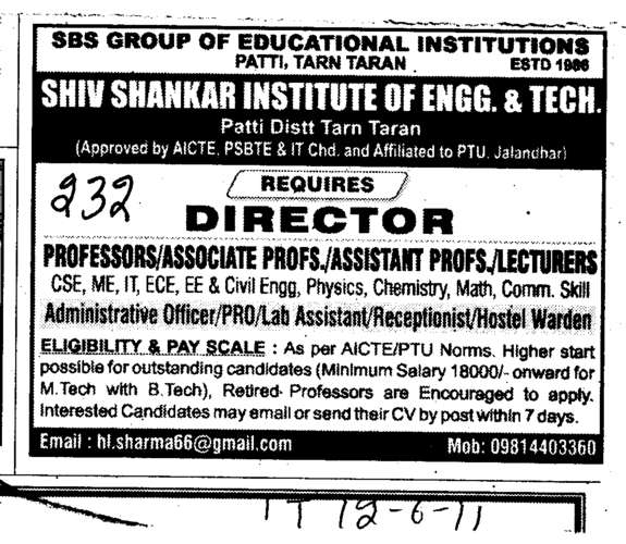 Director Professors Associate Professors and Assistant Professors for Diploma Courses (Shiv Shankar Institute of Engineering and Technology (SSIET))
