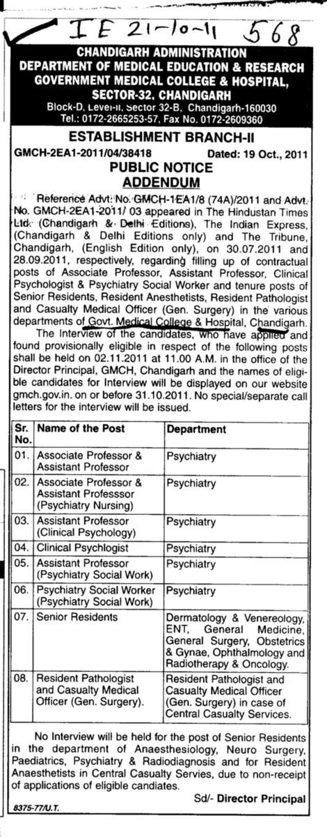Associate and Assistant Professors (Government Medical College and Hospital (Sector 32))