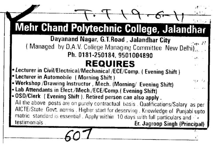 Lecturer in Civil and Automobile (Mehr Chand Polytechnic College)