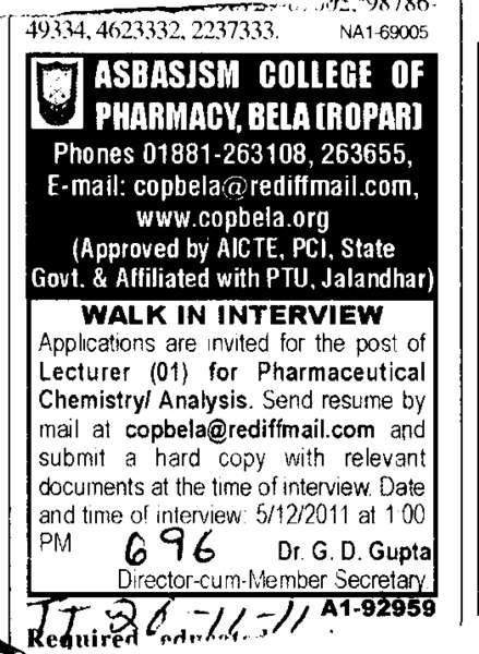 Lecturer for Chemistry (Amar Shaheed Baba Ajit Singh Jujhar Singh Memorial College of Pharmacy ASBASJSM Bela)