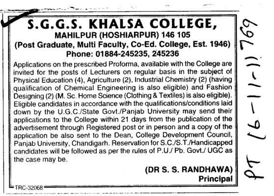 Lecturer on Regular Basis (SGGS Khalsa College)
