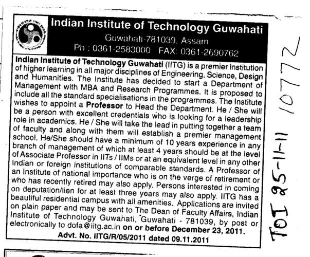Professors to Head Department (Indian Institute of Technology IIT)