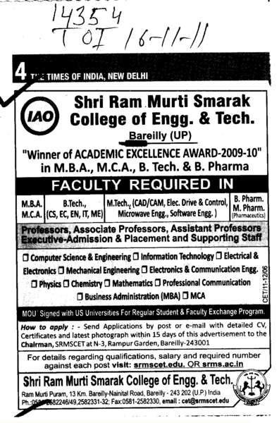 Professors Assistant Professors and Associate Professors etc (SRMS College of Engineering & Technology)