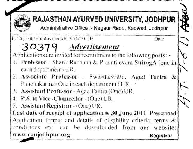 Professors and Associate Professors etc (Rajasthan Ayurveda University)