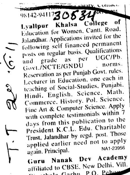 Lecturer on Regual Basis (Lyallpur Khalsa College of Education for Women)