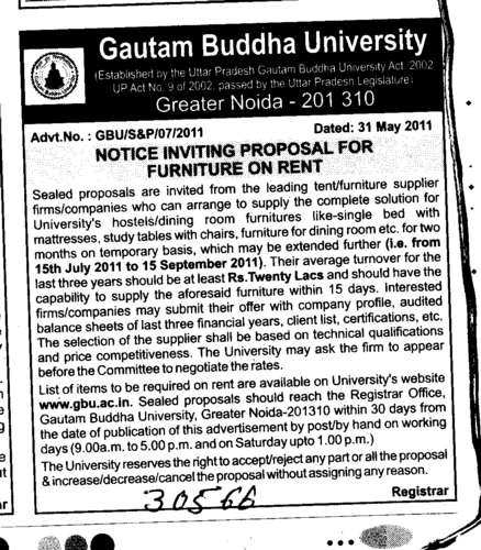 Lecturer on temporary Basis (Gautam Buddha University (GBU))