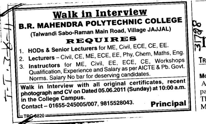 Hod and Senior Lecturer for ME ECE EE etc (BR Mahindra Polytechnic College)