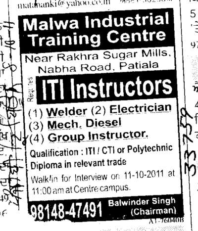 Welder Electrician and Group Instructor (Malwa Industrial Training Centre Dhablan)