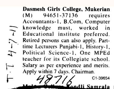 Part Time Lecturer Pbi Political Science and History etc (Dashmesh Girls College)