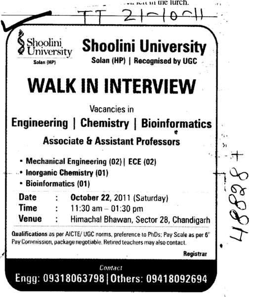 Associate and Assistant Professors (Shoolini University)