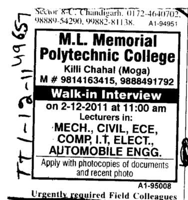 Lecturer in Mech Civil and ECE etc (ML Memorial Polytechnic College)