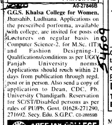 Lecturer on Regual Basis\ (Guru Gobind Singh Khalsa College for Women)