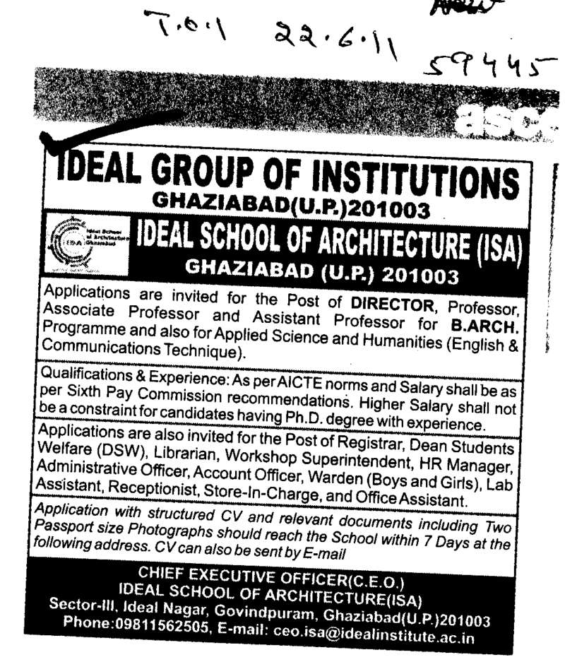 Director Assistant Professors and Associate Professors (Ideal Group of Institutions)