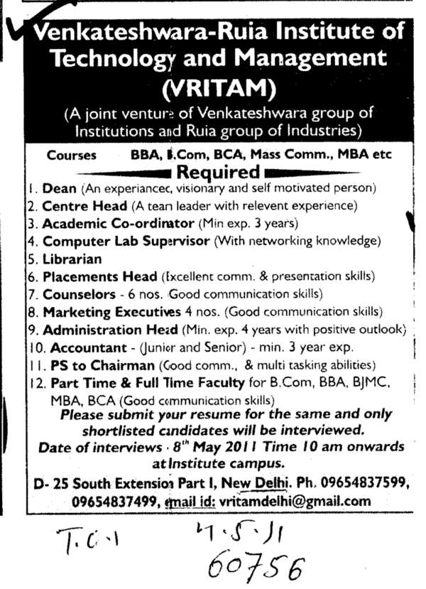 Technical Staff (Venkateshwara Ruia Institute of Technology and Management (VRITAM))