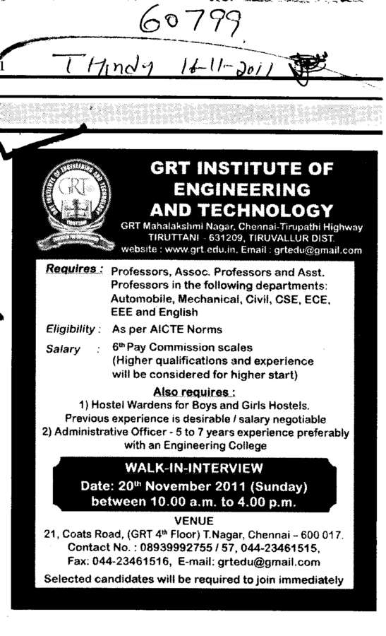 Professors Assistant Professors and Associate Professors etc (GRT Institute of Engineering and Technology (GRTIET))