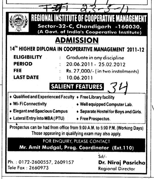 Higher Diploma Course (Regional Institute of Cooperative Management)