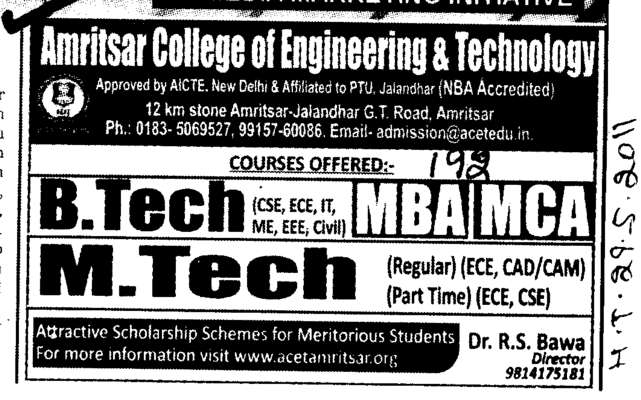 B Tech MBA and MCA etc (Amritsar College of Engineering and Technology ACET Manawala)