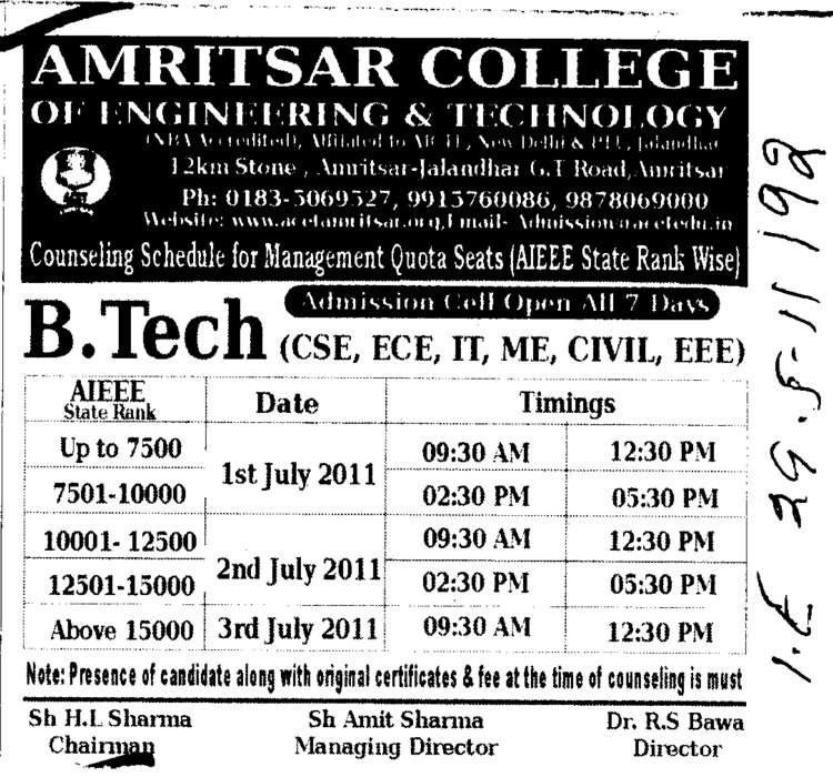 Degree Courses (Amritsar College of Engineering and Technology ACET Manawala)