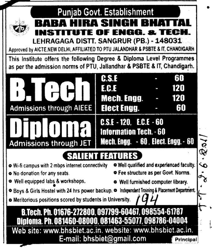 B Tech and Diploma Courses (Baba Hira Singh Bhattal Institute of Engineering and Technology (BHSBIET))