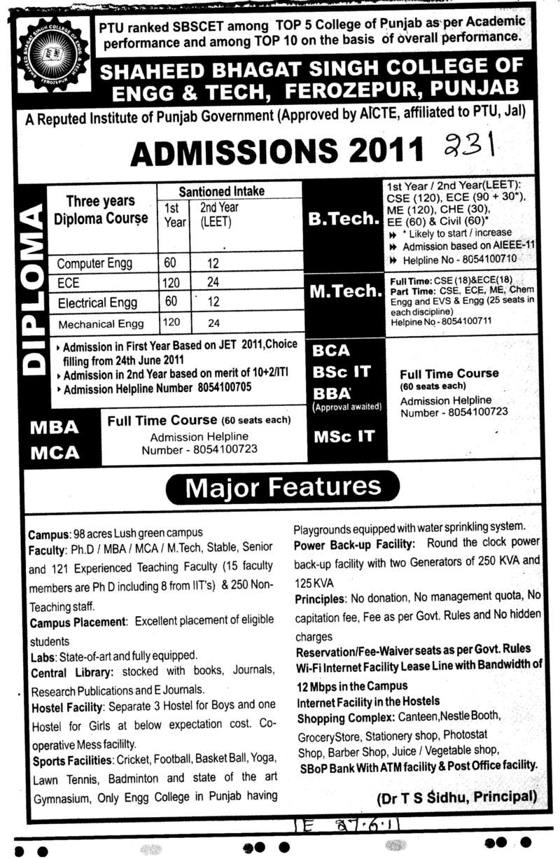 B Tech M Tech MBA and MCA etc (Shaheed Bhagat Singh State (SBBS) Technical Campus)