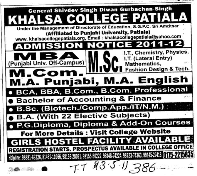 MBA M Sc MCom and MA etc (Khalsa College)