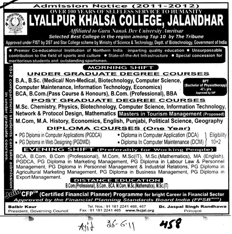 Post Graduate Course and Diploma etc (Lyallpur Khalsa College of Boys)