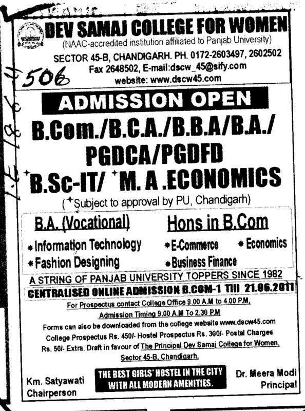 B Com BBA BCA and BA etc (Dev Samaj College for Women)